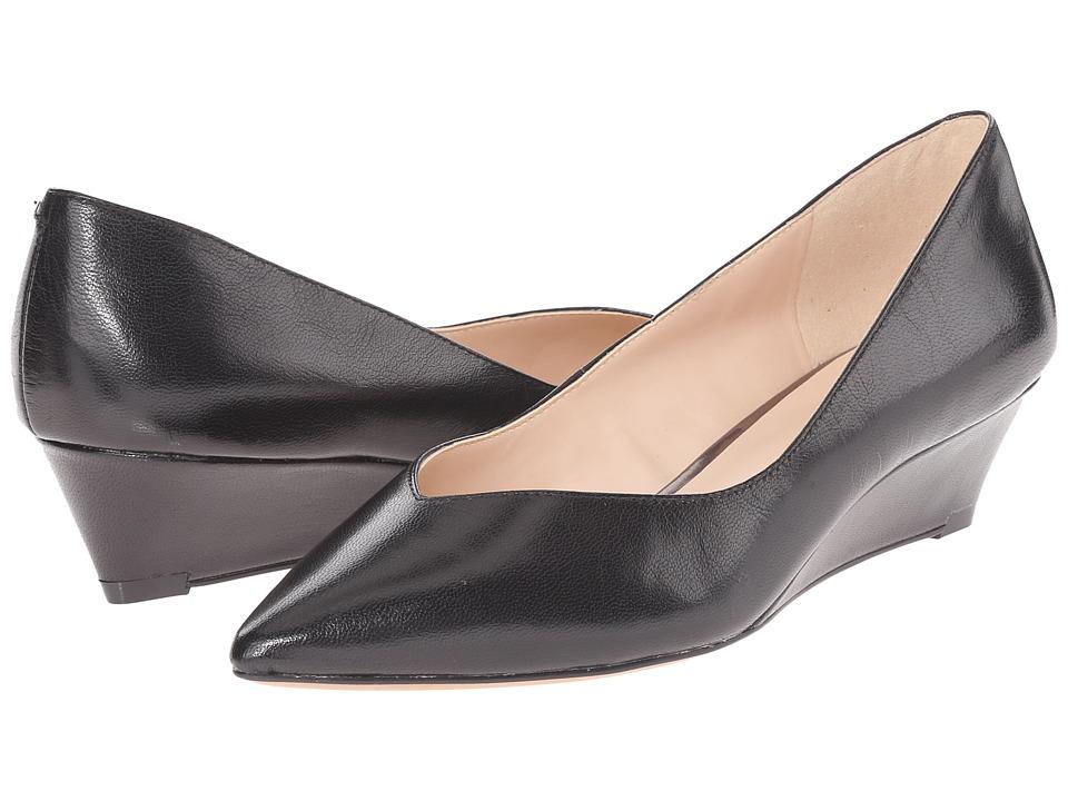 Nine West Elenta Black Leather Womens Wedge Shoes