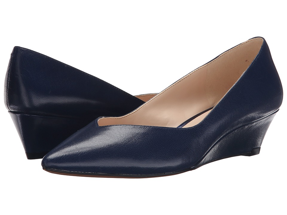 Nine West Elenta Navy Leather Womens Wedge Shoes