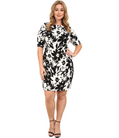 London Times - Plus Size Extended Short Sleeve Jersey Printed Sheath