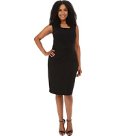 London Times - Plus Size Sleeveless Lace Inset V-Neck Sheath