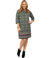 London Times - Plus Size Long Sleeve Printed Ponte Shift