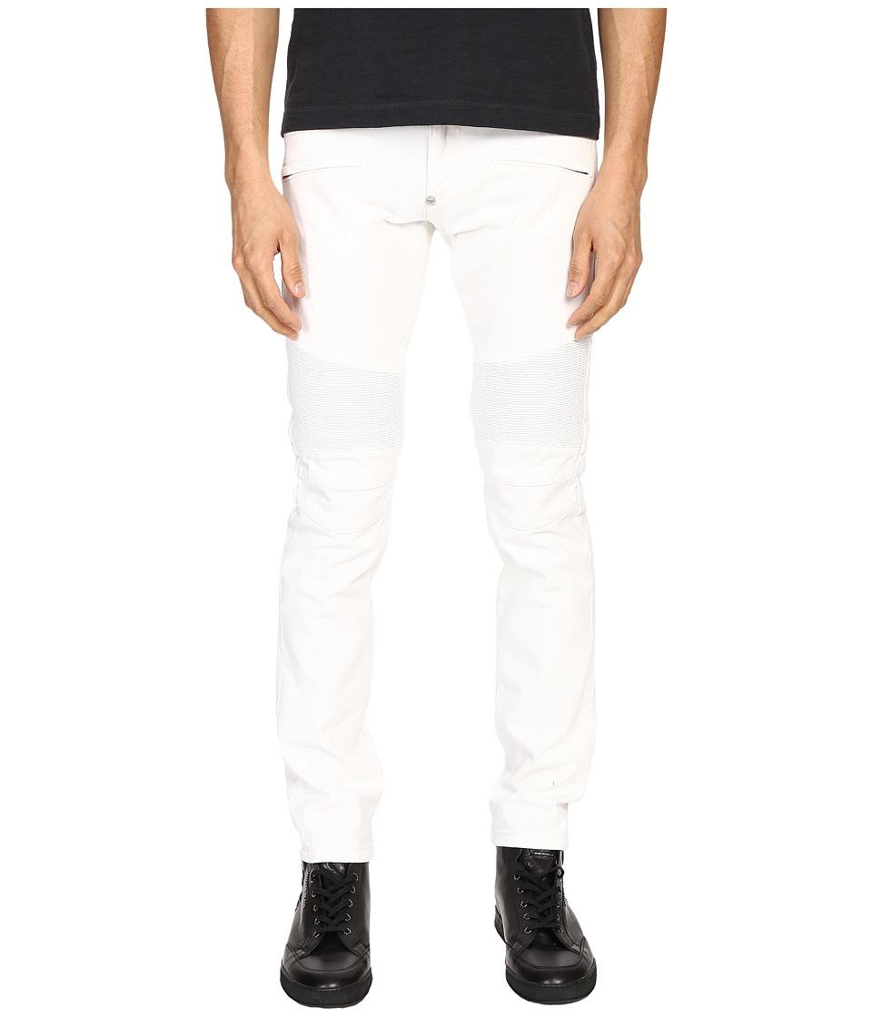Philipp Plein Highway Biker Straight Denim Intimate White Mens Jeans