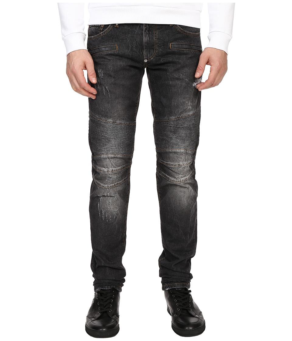 Philipp Plein Highway Biker Straight Denim Carbon Grey Mens Jeans