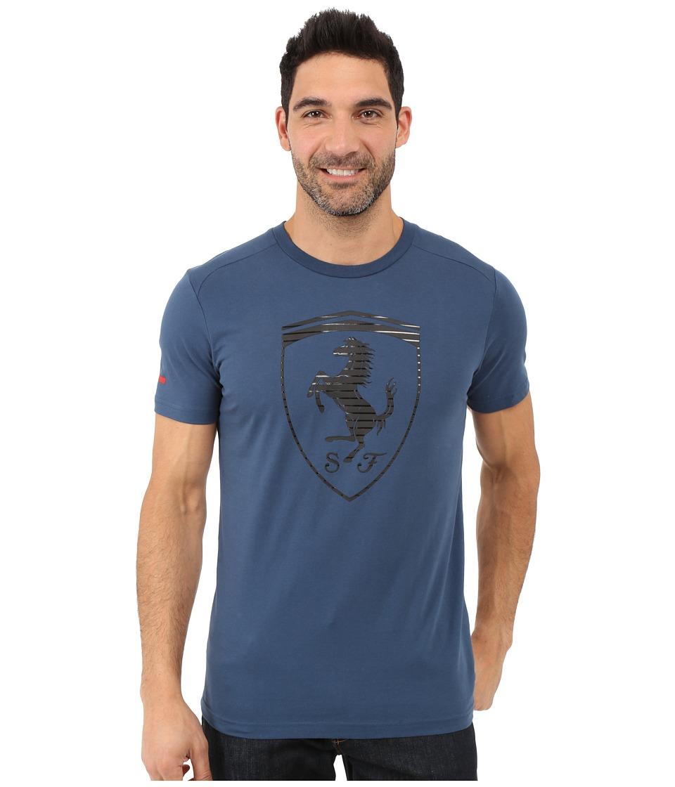 PUMA - Ferrari Big Shield Tee (Blue Wing Teal) Men