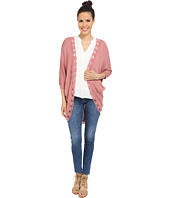 Pink Rose - Embroidered Edge Long Cardi