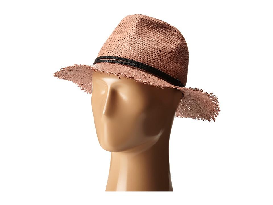 BCBGMAXAZRIA Frayed Panama Hat Bare Pink Caps