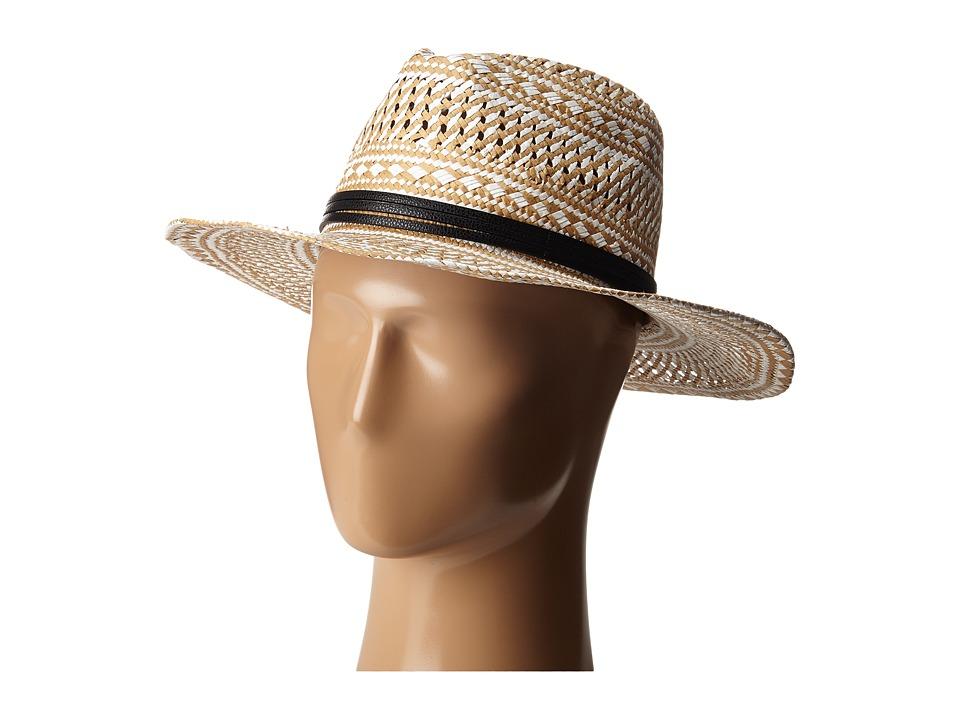 BCBGMAXAZRIA Geo Woven Panama Hat White Caps