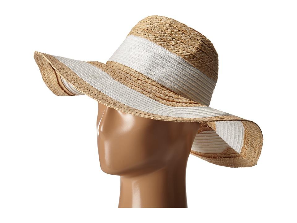 BCBGMAXAZRIA Classic Stripe Panama Hat White Caps