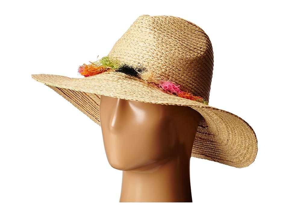 BCBGMAXAZRIA Tassel Panama Hat Natural Caps