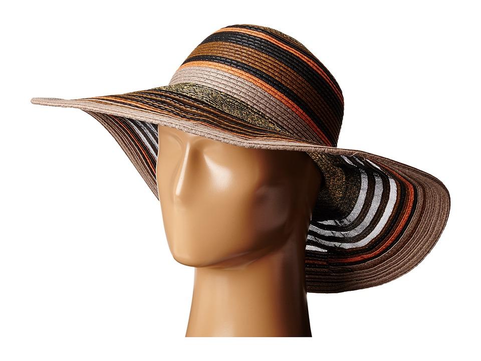 BCBGeneration Sheerly Striped Floppy Hat Black Caps