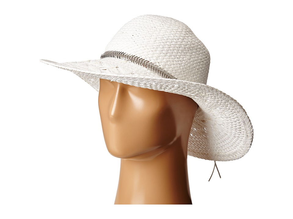 BCBGeneration Feather Chain Floppy Hat White Caps