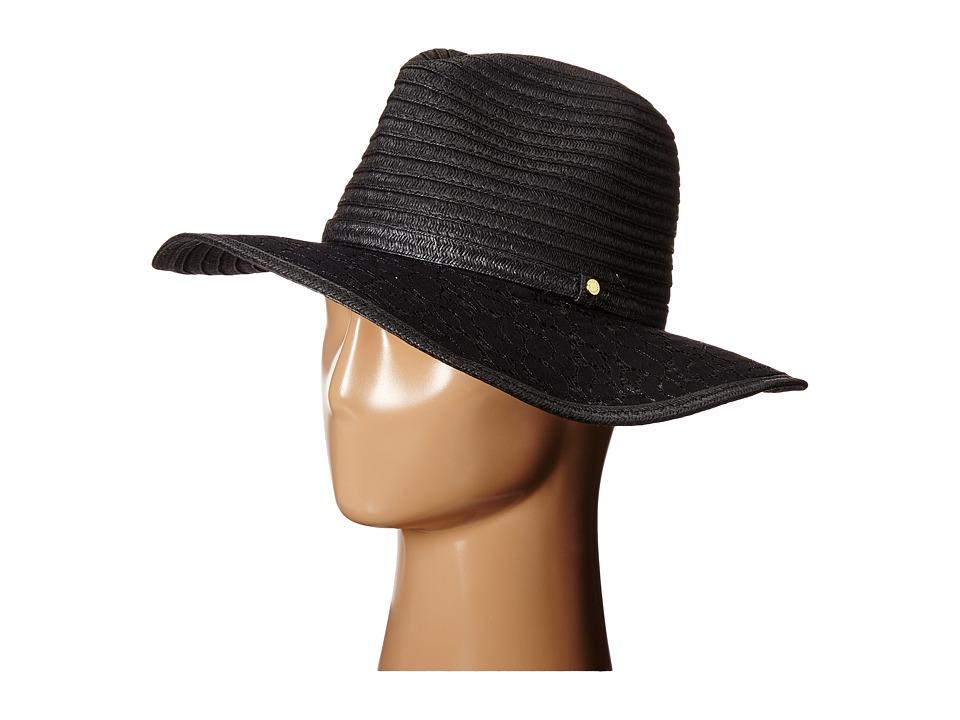 BCBGeneration Lace Brim Panama Hat Black Caps