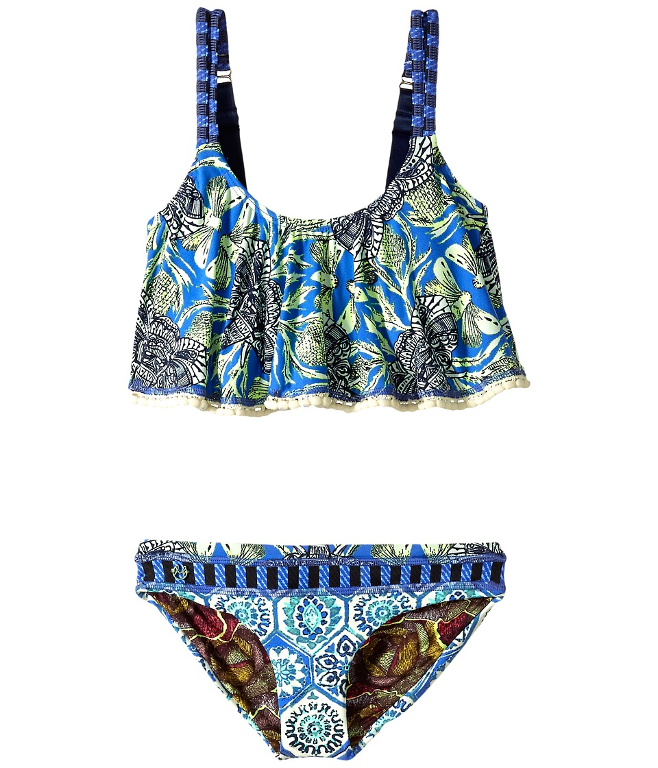 Maaji Kids Hello Adventure Ruffle Tankini Set Toddler/Little Kids/Big Kids Blue Girls Swimwear Sets
