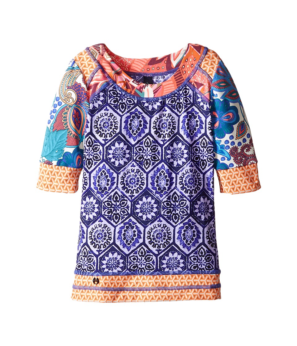 Maaji Kids Coconut Sky Short Sleeve Rashguard Toddler/Little Kids/Big Kids Blue Girls Swimwear