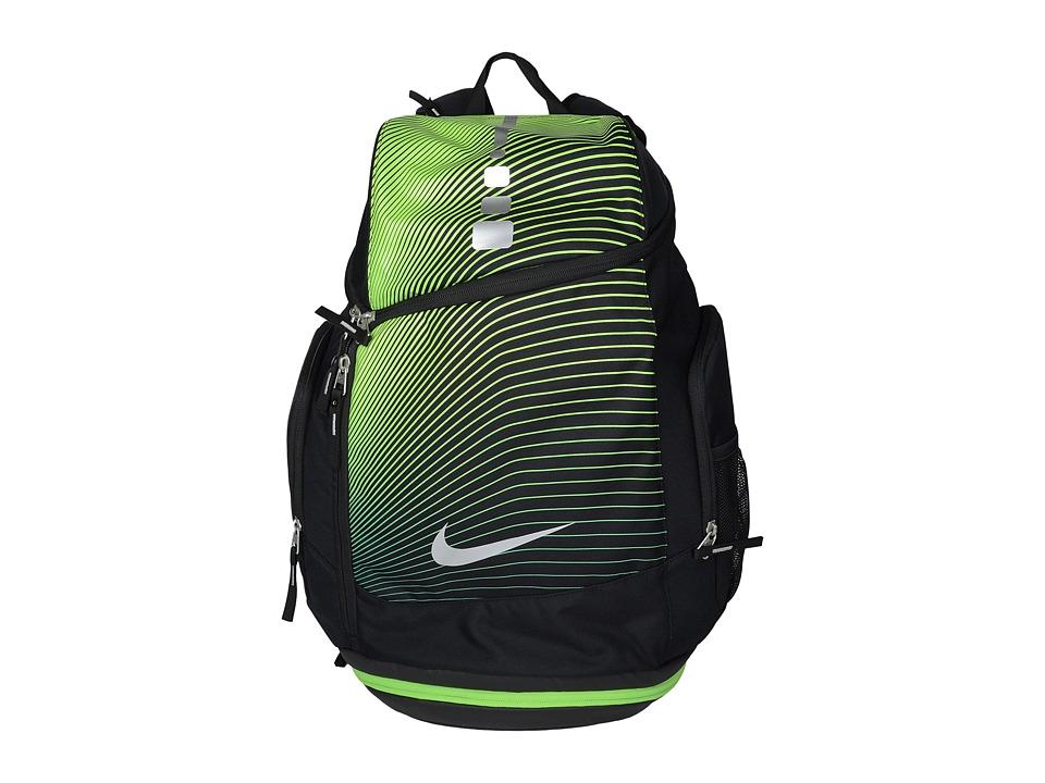 Nike - Hoops Elite Max Air Backpack GR (Black/Action Green/Metallic Silver) Backpack Bags