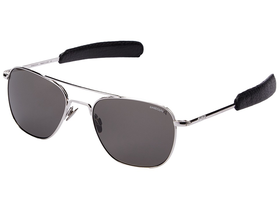 Randolph Aviator 55mm Polarized White Gold Plated/Gray Polarized Glass Lens Fashion Sunglasses