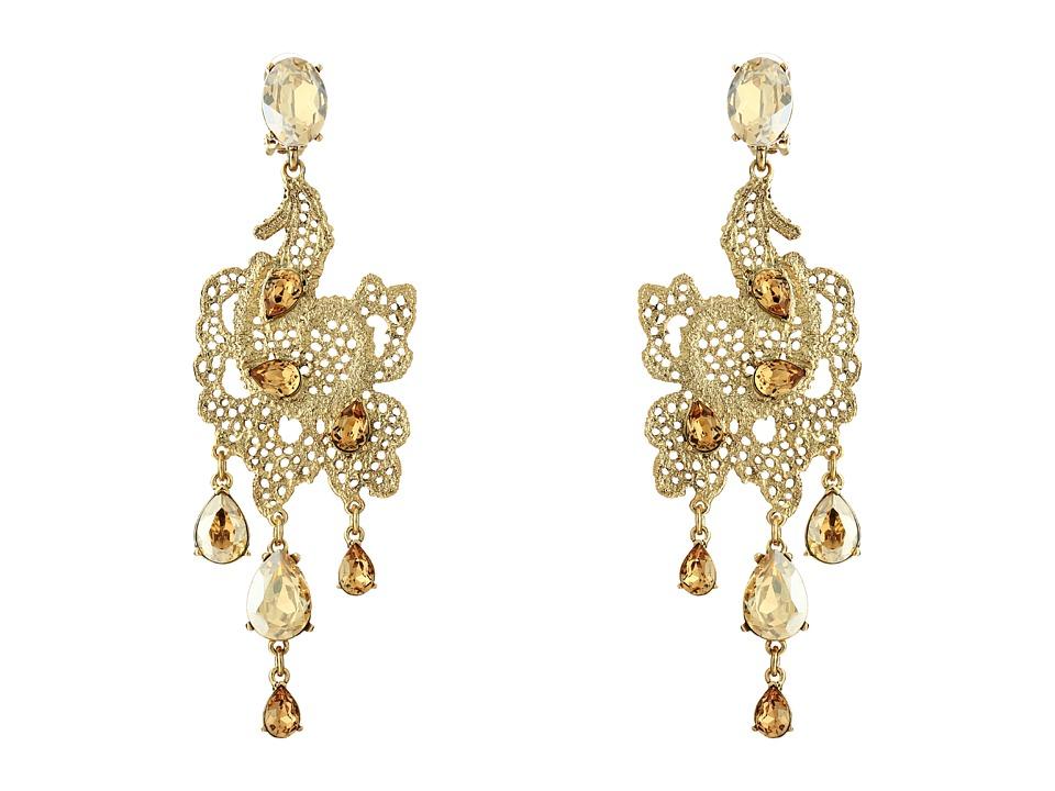 Oscar de la Renta Lace Long Drop C Earrings Cry Gold Shadow Earring