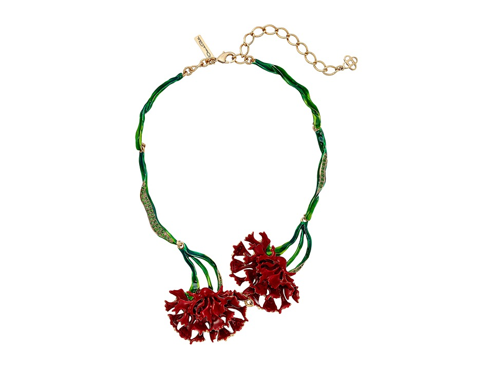 Oscar de la Renta Carnation Necklace Ruby Necklace