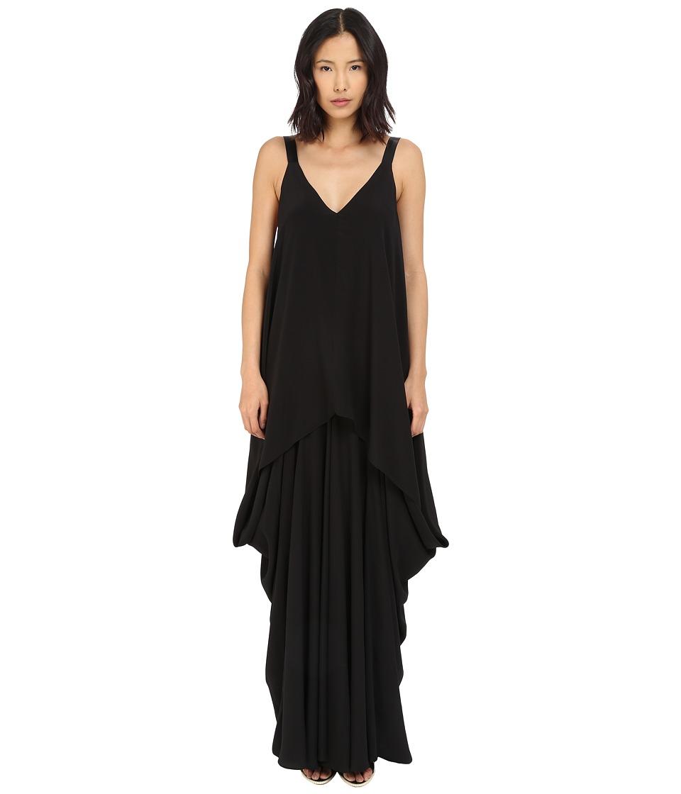 Vera Wang V Neck Tiered Dress Black Womens Dress