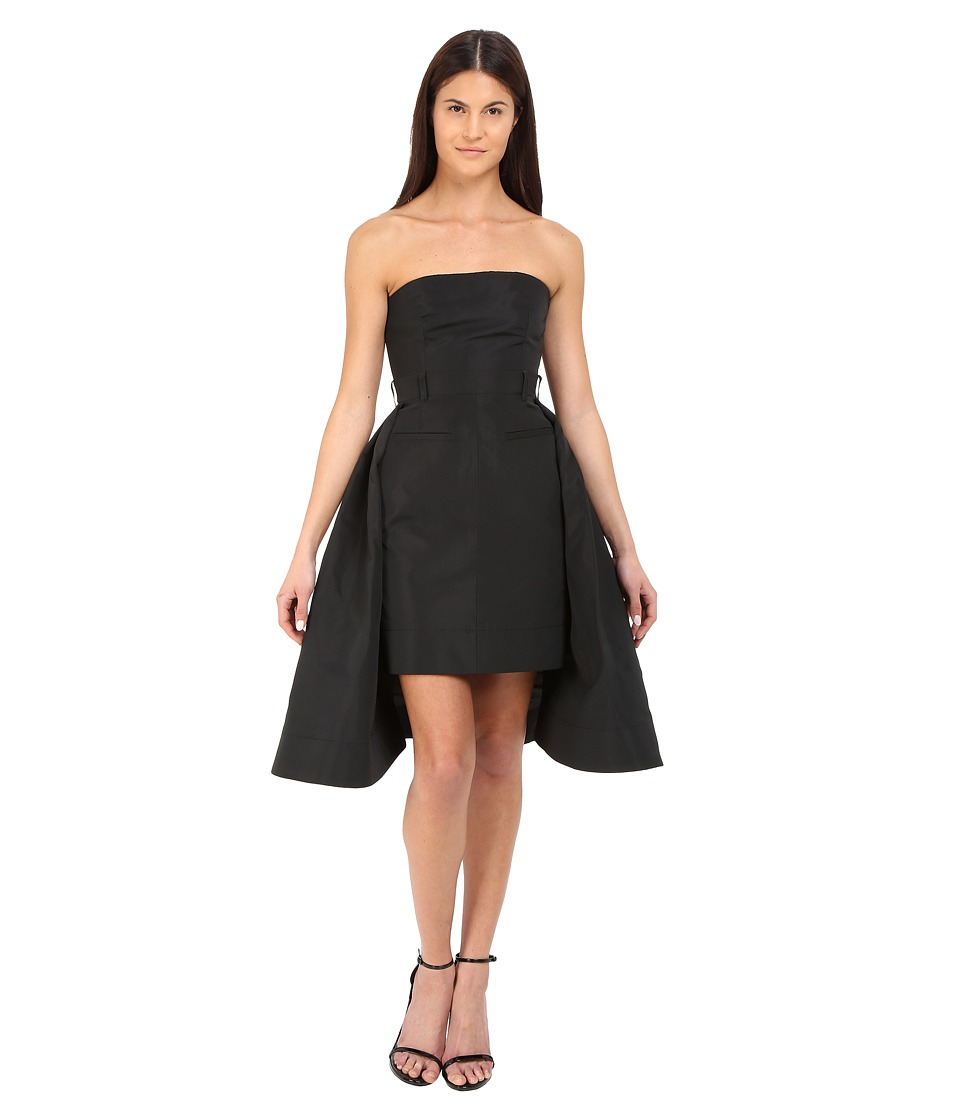 Vera Wang Bustier Dress w/ Tailored Pencil Skirt and Pleated Back Black Womens Dress
