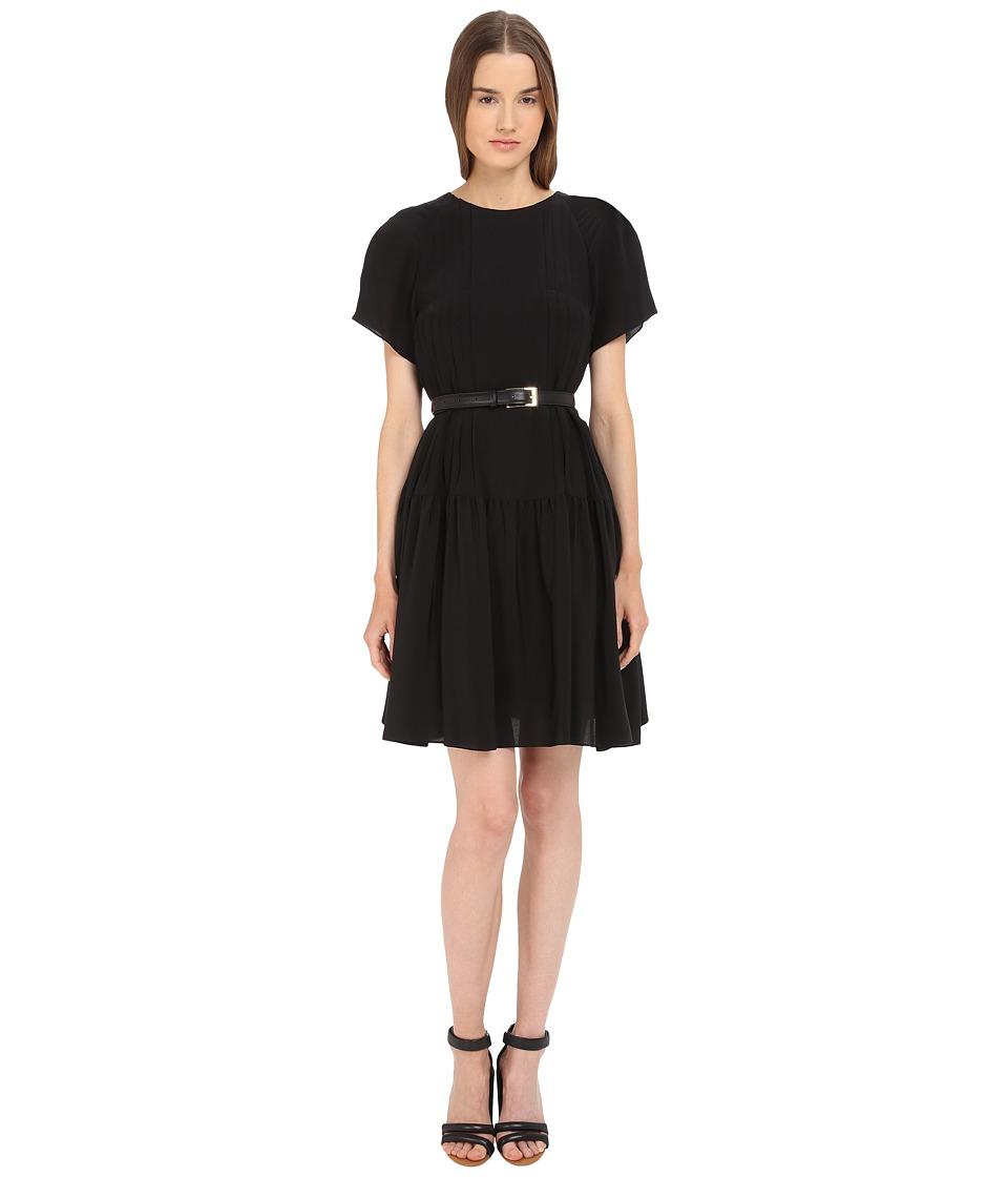 Vera Wang Short Sleeve Pleated Peasant Dress Black Womens Dress
