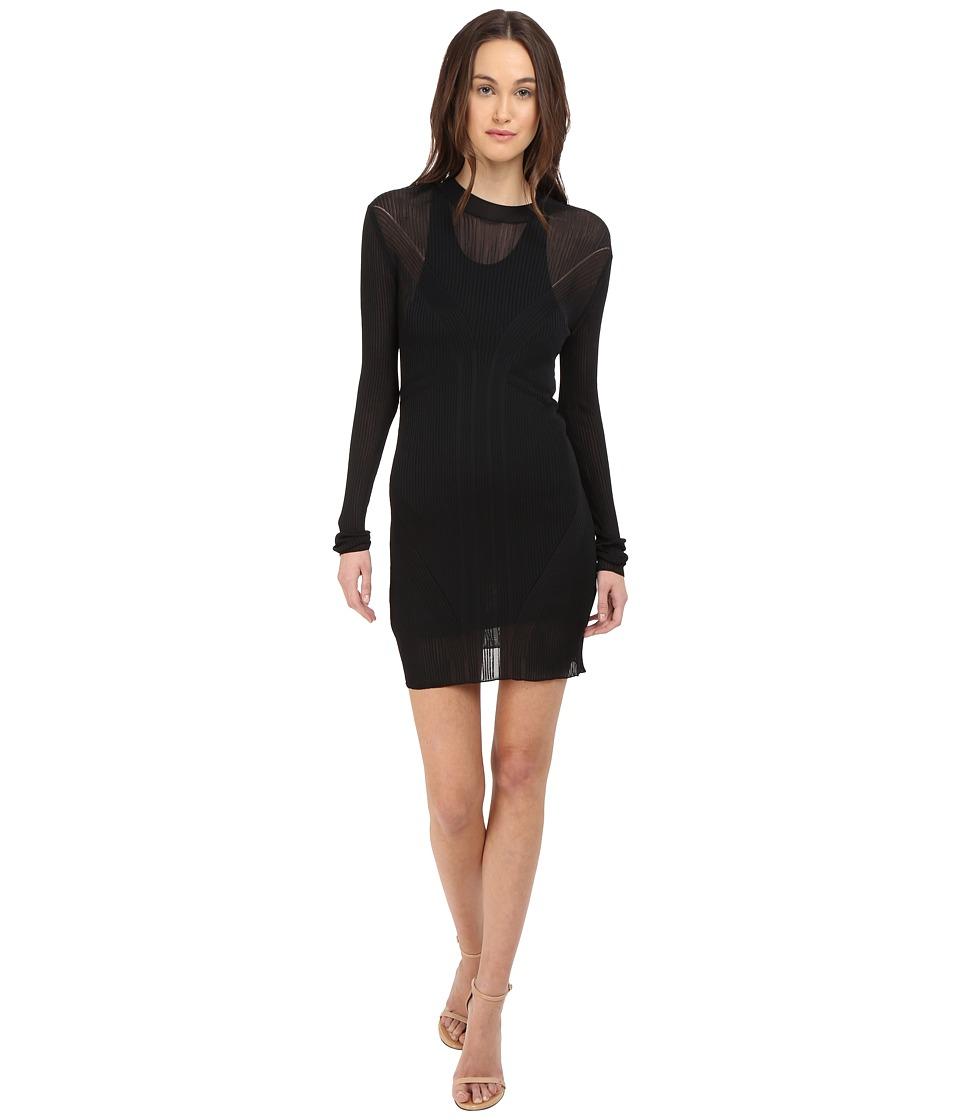 Vera Wang Long Sleeve Ribbed Dress Black Womens Dress