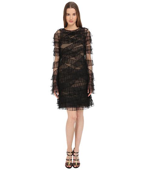 Vera Wang Sleeveless Dress w/ Ruffled Detail - Black