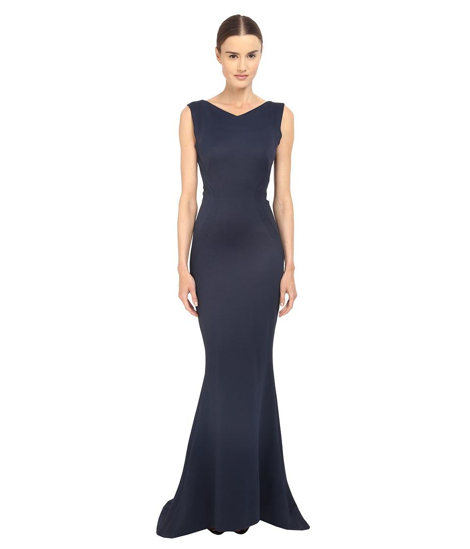 Zac Posen Bondage Jersey Sleeveless Gown Navy Womens Dress