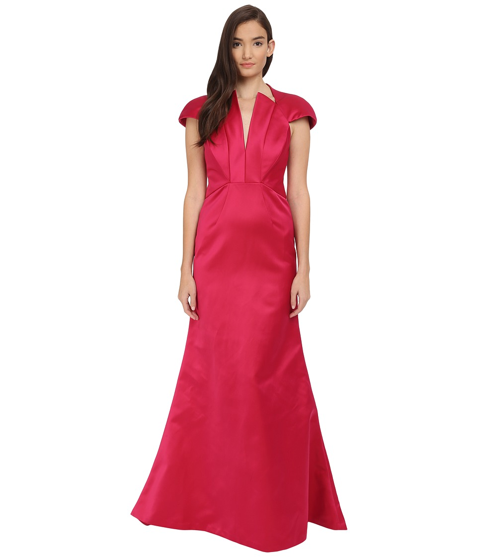 Zac Posen Bonded Crepe V Neck Sleeveless Gown Fuchsia Womens Dress