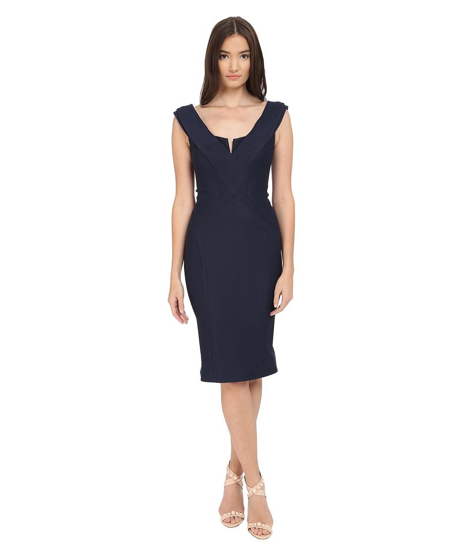 Zac Posen Cap Sleeve Bondage Jersey Dress Navy Womens Dress