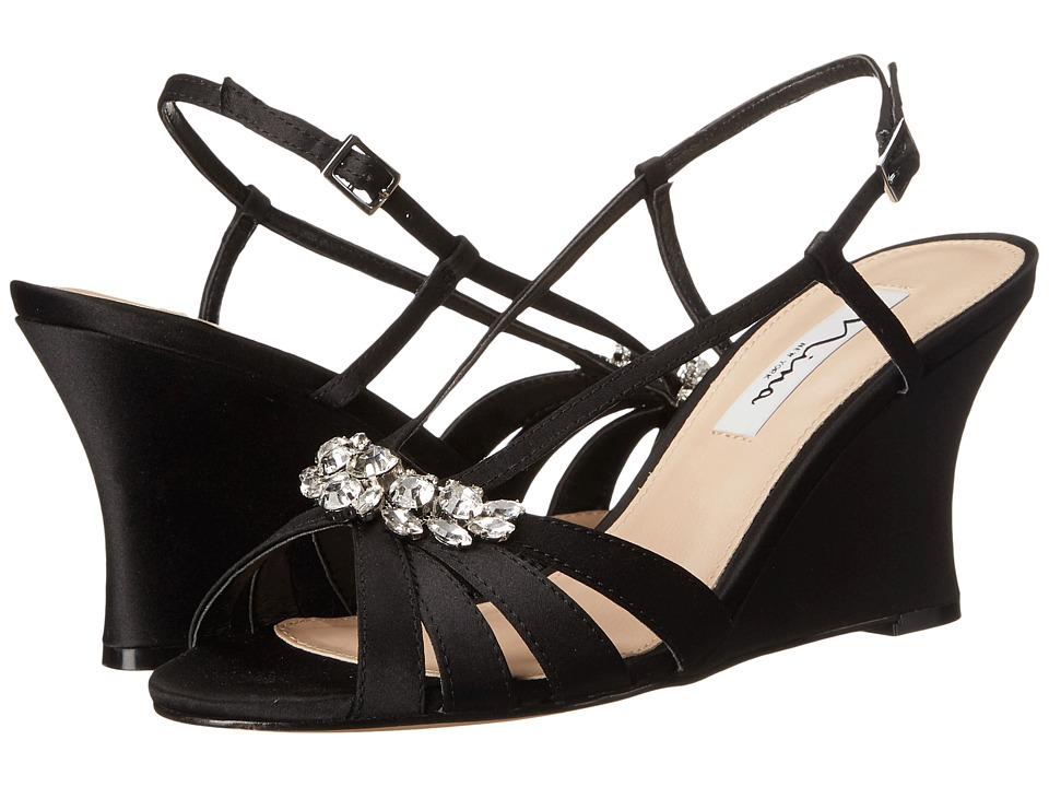 Vintage Style Shoes, Vintage Inspired Shoes Nina - Viani Black Womens Wedge Shoes $83.95 AT vintagedancer.com