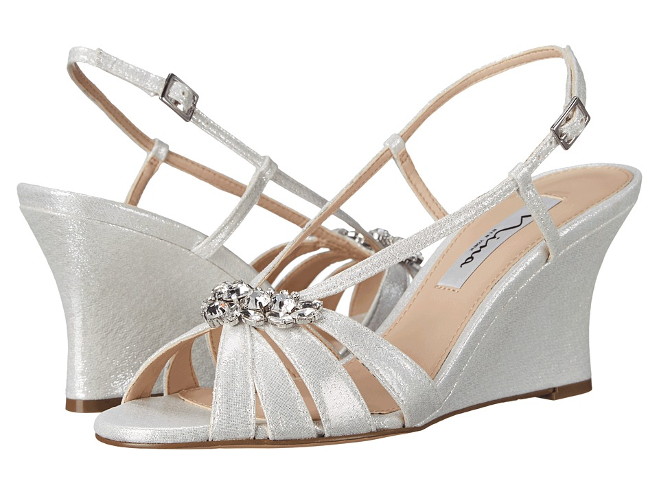 Vintage Style Wedding Shoes, Boots, Flats, Heels Nina - Viani Silver Womens Wedge Shoes $79.99 AT vintagedancer.com