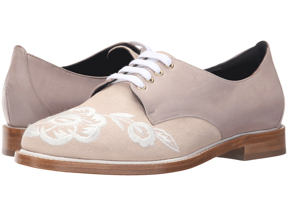 Oscar de la Renta Adelayne Clay Embroidered Canvas Womens Lace up casual Shoes