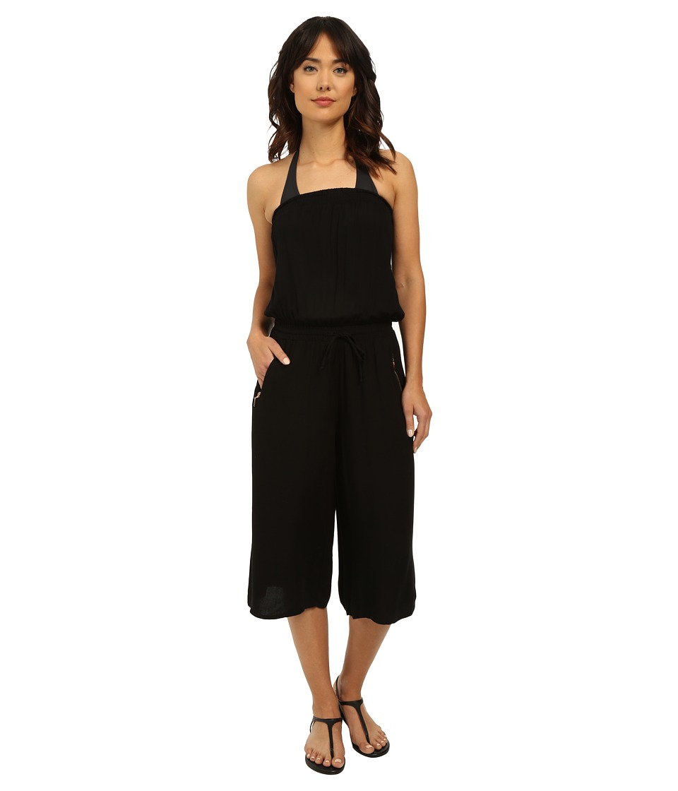 Seafolly Beach Gypsy Howzat Jumpsuit Cover Up Black Womens Jumpsuit Rompers One Piece
