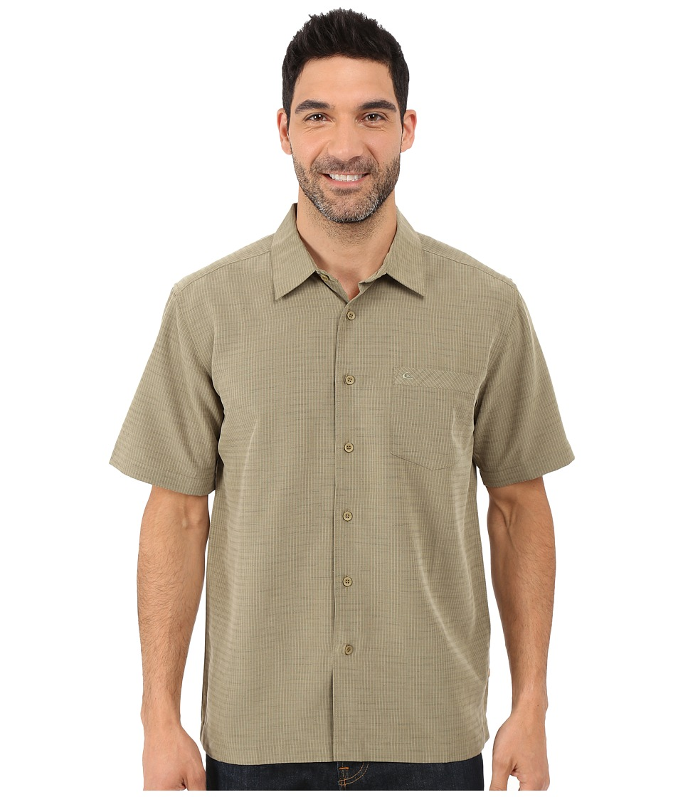 Quiksilver Waterman Centinela 4 Traditional Polynosic Woven Top Kelp Mens Clothing