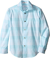 Calvin Klein Kids - Faded Horizontal Stripe Long Sleeve Shirt (Big Kids)