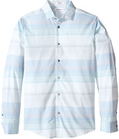 Calvin Klein Kids - Velocity Horizontal Micro Stripe Long Sleeve Stripe Shirt (Big Kids)