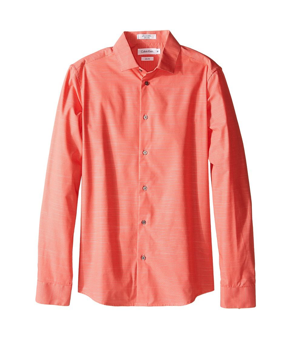 Calvin Klein Kids Faded Horizontal Stripe Long Sleeve Shirt Big Kids Bright Coral Boys Long Sleeve Pullover