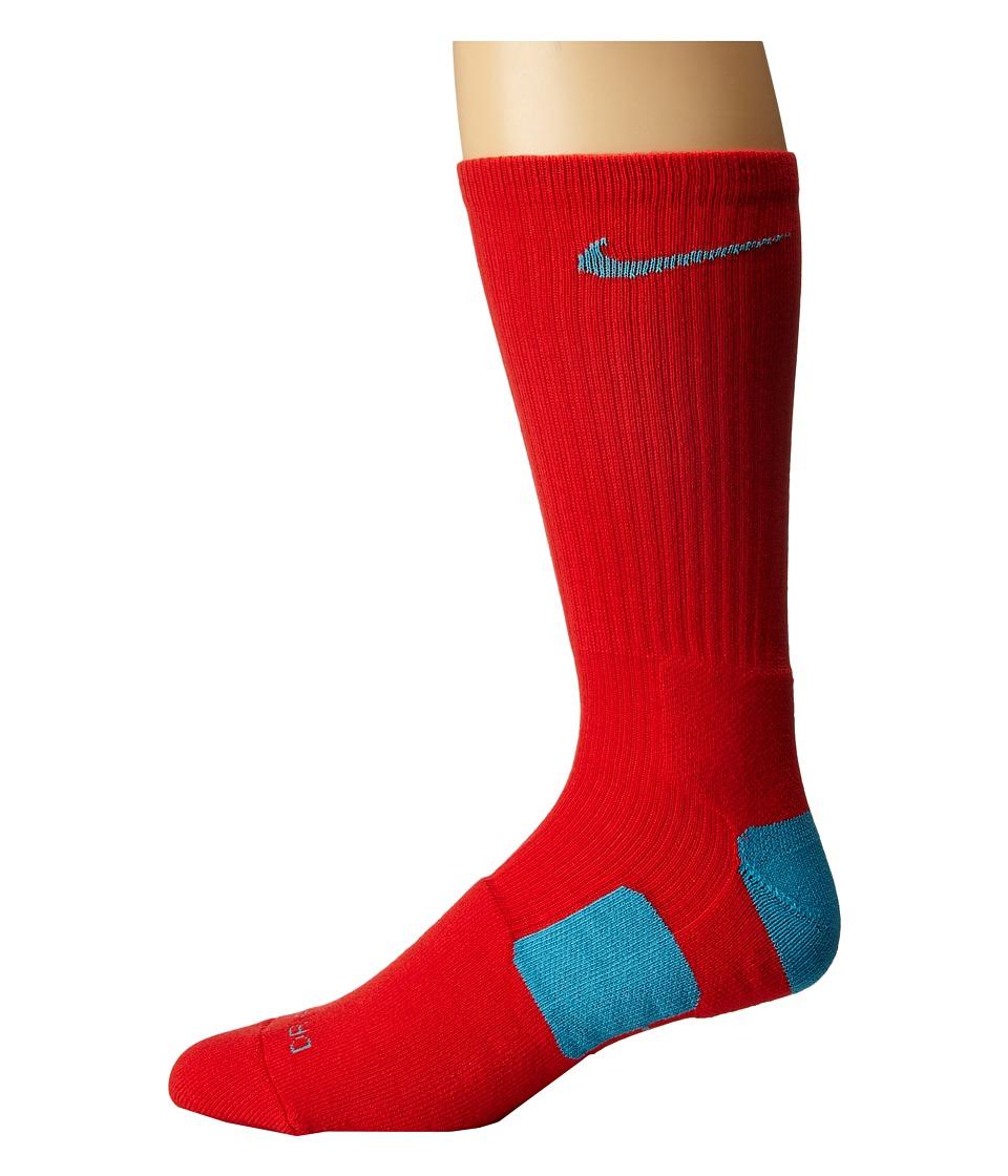 Nike - Elite Basketball Crew (Light Crimson/Omega Blue/Omega Blue) Crew Cut Socks Shoes