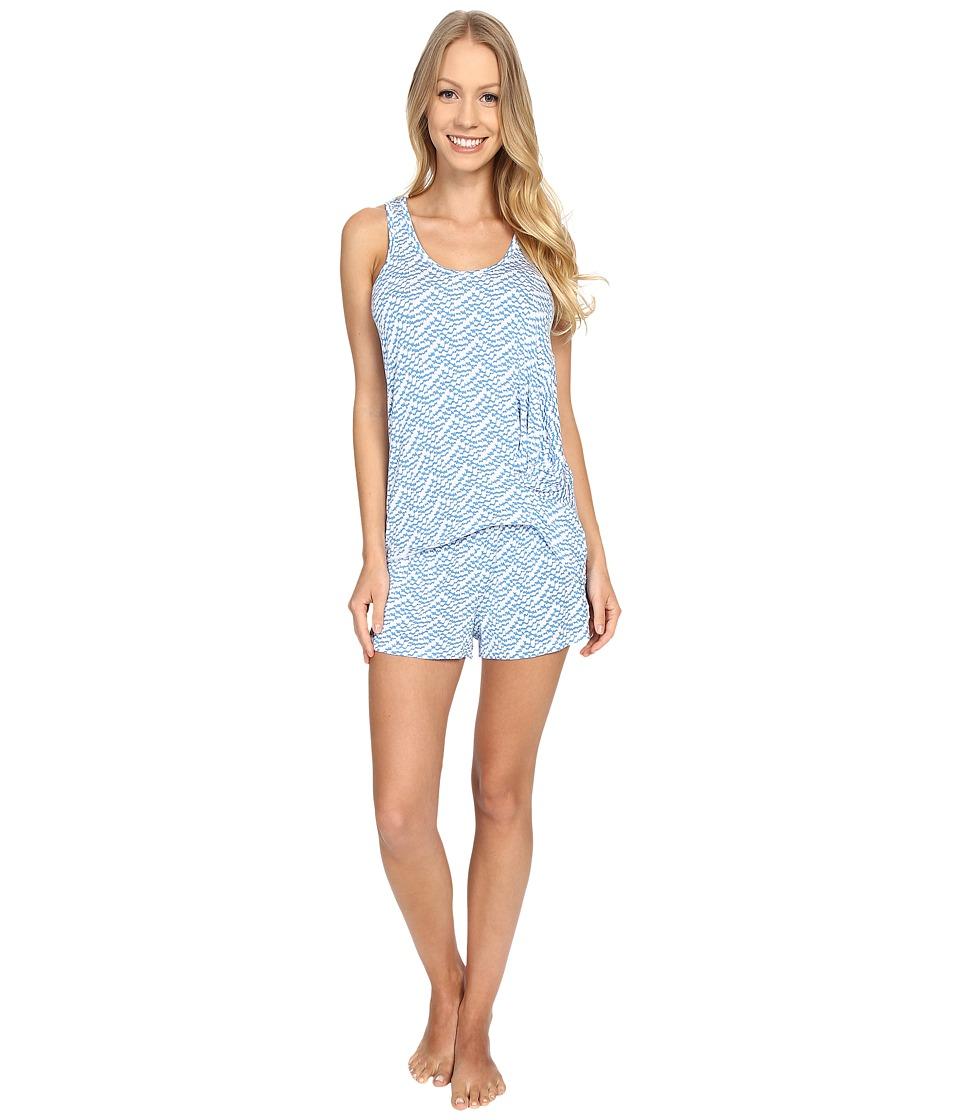 Splendid Tank Top Shortie Set Blue Scallop Womens Pajama Sets