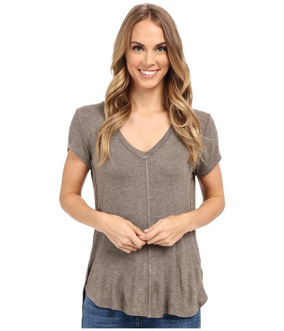 Bobeau Adley V Neck High Low T Shirt Taupe Womens T Shirt