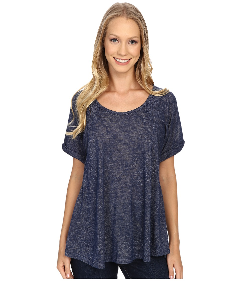 Bobeau Alexi Roll Sleeve Knit Top Indigo Womens T Shirt