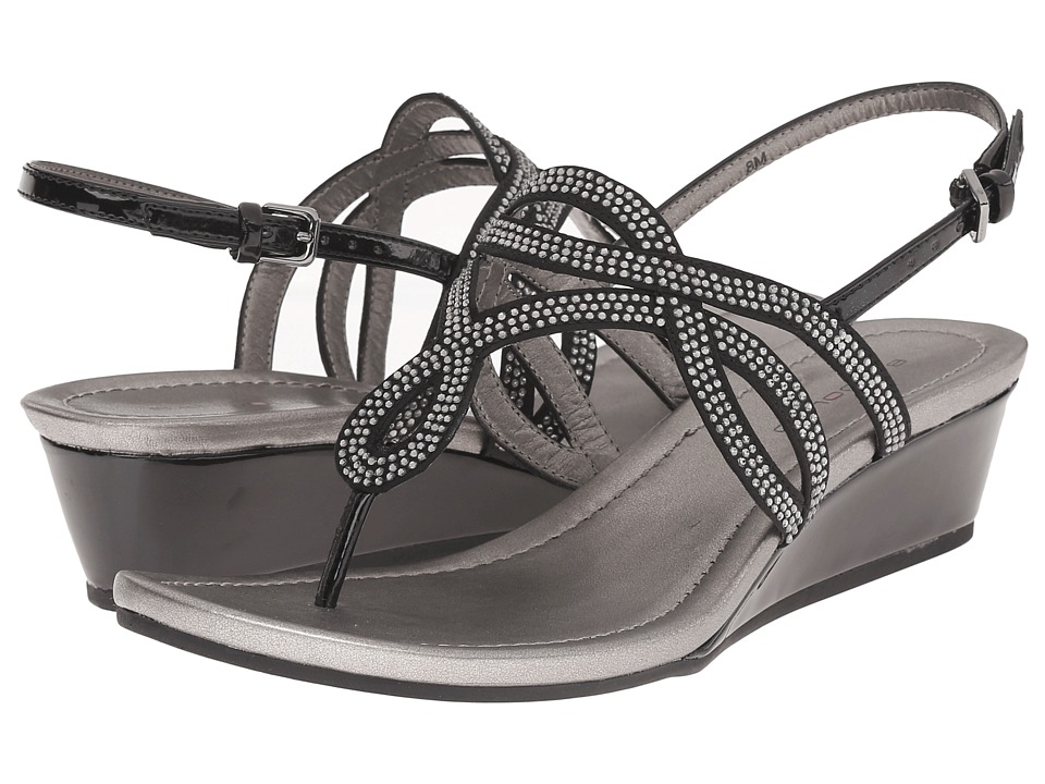 Bandolino Brisa Black/Black Fabric Womens Sandals
