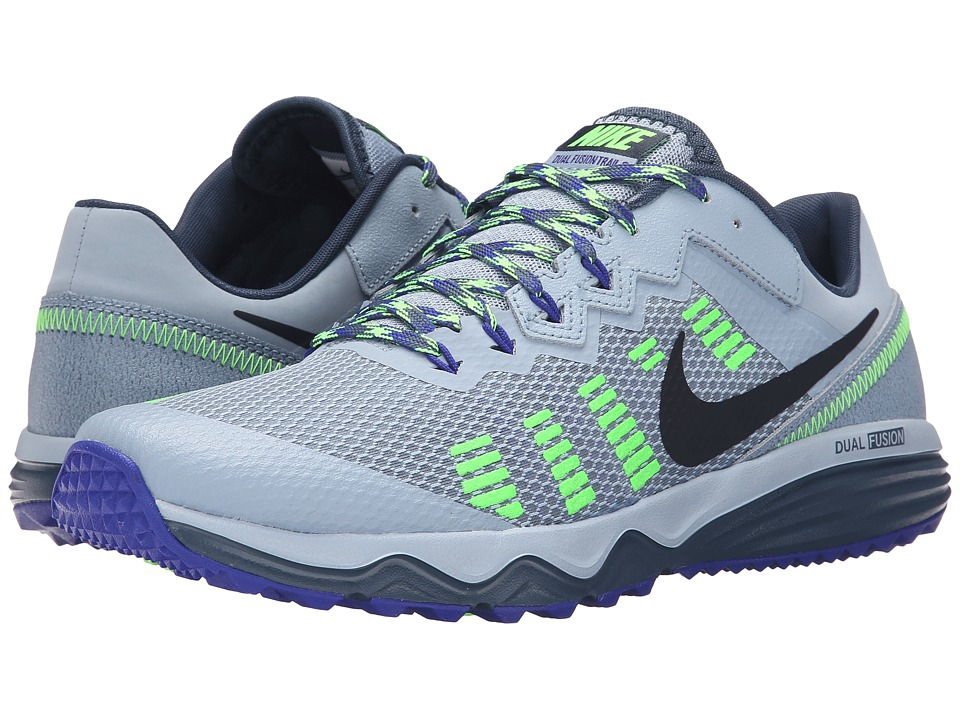 Nike Dual Fusion Trail 2 Blue Grey/Squadron Blue/Concord/Electric Green Mens Running Shoes