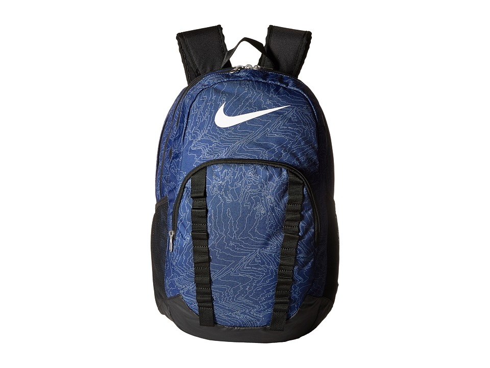 Nike - Brasilia 7 Backpack Graphic XL (Blue/Black/(White)) Backpack Bags