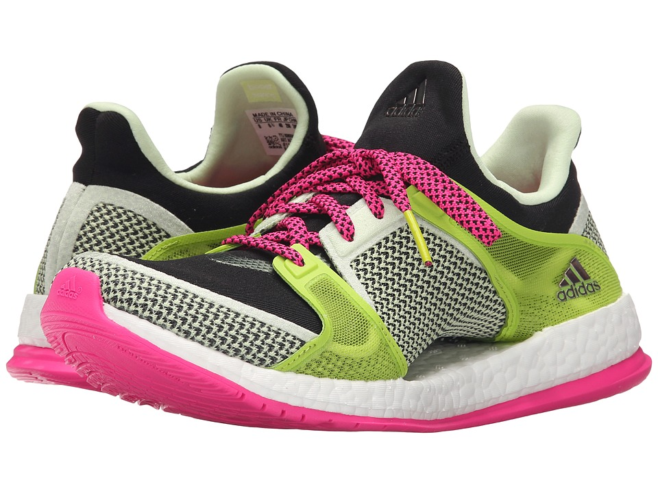 adidas - Pure Boost X Trainer (Black/Shock Pink/Semi Solar Slime) Women