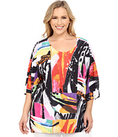 Nally & Millie - Plus Size Printed Brush Stroke Boxy Top