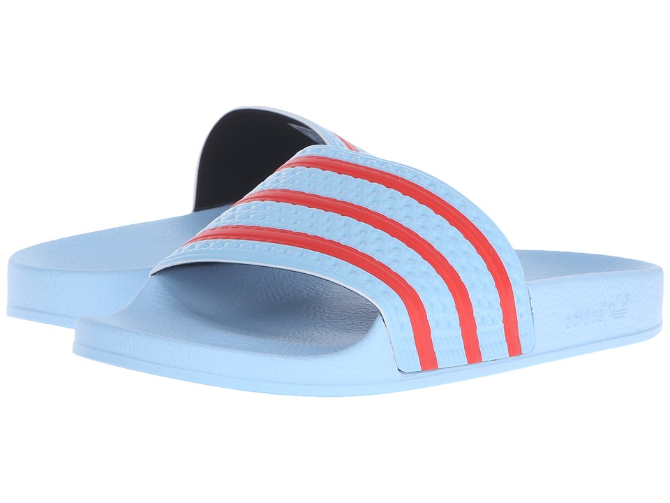 adidas Originals adilette Blush Blue/Collegiate Orange/Black Mens Slide Shoes