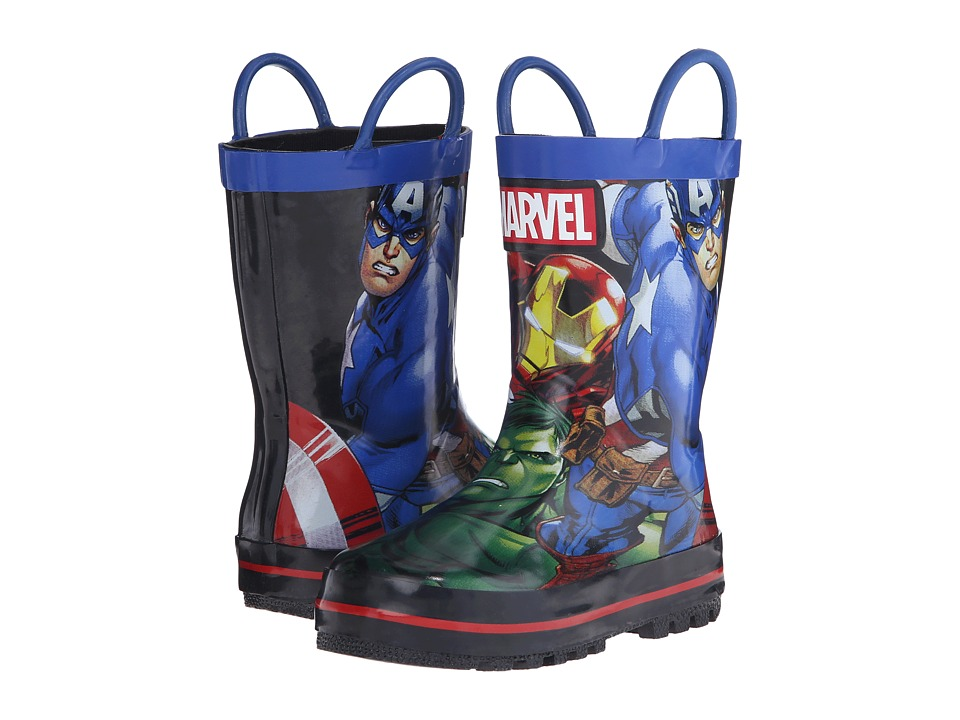 Favorite Characters - Avengers Rain Boot (Toddler/Little Kid) (Black/Grey/Yellow) Boys Shoes