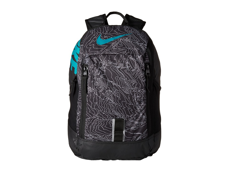 Nike - Young Athletes Alpha ADPT Rise Print Backpack (Black/Black/Rio Teal) Backpack Bags